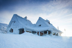 Snowy houses in the high mountain.  Stock Photography