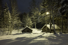 Snowy houses in the night.  Stock Photo