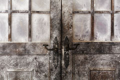 Snowy and icy decorated doors Royalty Free Stock Photos