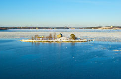 Snowy island in the Baltic sea in Finland Royalty Free Stock Images