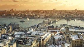 Snowy Istanbul Cityscape, Turkey Stock Photo