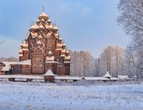 Snowy January morning in Nevsky forest Park. St. Basil`s Cathedr. Snowy January morning in Nevsky forest Park. The Bank of the river Neva stock photo