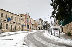 Snowy Jerusalem streets Royalty Free Stock Photos