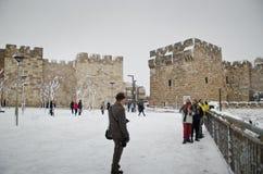 Snowy Jerusalem winter time royalty free stock photos