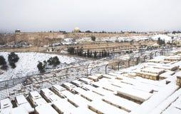Snowy Jerusalem winter time Royalty Free Stock Image