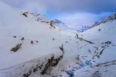 Snowy Julier Pass. At Switzerland on a snowy day Royalty Free Stock Image