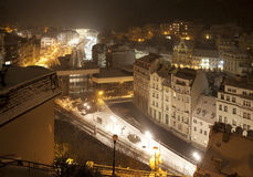 Snowy Karlovy Vary by night Royalty Free Stock Photos