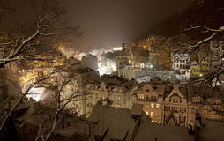 Snowy Karlovy Vary by night Royalty Free Stock Photo