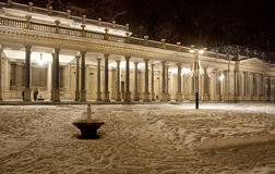 Snowy Karlovy Vary by night Stock Photography