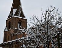 Snowy-Kirche Lizenzfreies Stockbild