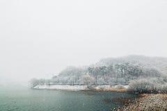 Snowy lake landscape in winter. Snowy lake landscape in Korea Stock Photo