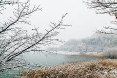 Snowy lake landscape in winter. Snowy lake landscape in Korea Stock Photos