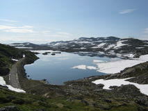 The snowy lake. In Norway Stock Photos