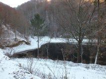 Snowy lake Stock Image
