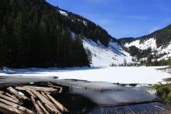 Snowy Lake Talapus, WA. Snow covered Lake Talapus in Washington State Royalty Free Stock Photography