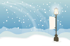 Snowy with lamppost, Christmas background Stock Images