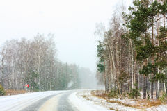 Snowy Land Road Stock Image