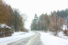 Snowy Land Road Royalty Free Stock Photo
