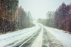 Snowy Land Road Royalty Free Stock Photos