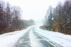 Snowy Land Road Royalty Free Stock Photography