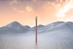 Snowy land scape with pole. Digitally generated Snowy landscape with pole and copy space Royalty Free Stock Photo