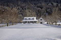 Snowy-Landhaus Lizenzfreies Stockbild