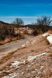 Snowy-Landlandschaft, Stockfoto
