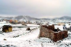 Snowy-Landlandschaft, Lizenzfreie Stockfotos
