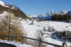 Snowy landscape. (Ftan, Graubunden, Switzerland Royalty Free Stock Photo