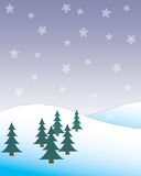 Snowy landscape. Computer-generated snow landscape with pine trees Stock Images