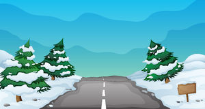 Snowy landscape. Illustration of a snowy landscape and a road Royalty Free Stock Photography