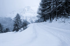 Snowy landscape. A snowy winter landscape in the Italian alps Stock Photos