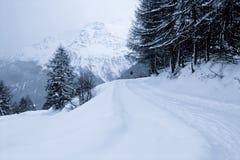 Snowy landscape. A snowy winter landscape in the Italian alps stock photos