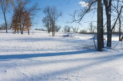 Snowy Landscape Atop Bluffs of Battle Creek Park in Saint Paul royalty free stock photo
