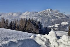 Snowy landscape in the Austrian mountains. The Snowy landscape in the Austrian mountains Royalty Free Stock Photos