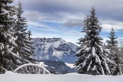 Snowy landscape in the Austrian mountains. The Snowy landscape in the Austrian mountains Stock Image