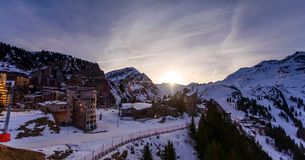 Snowy landscape of Avoriaz ski resort in France on a sunny day.  royalty free stock photos