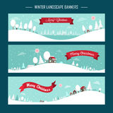 Snowy landscape banners Stock Image