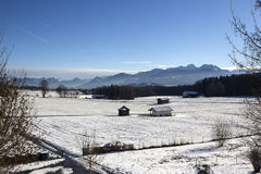 Snowy landscape in the Bavarian mountains Royalty Free Stock Image