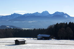 Snowy landscape in the Bavarian mountains Stock Images