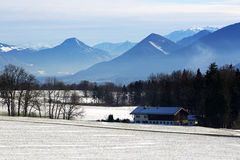Snowy landscape in the Bavarian mountains Royalty Free Stock Photography
