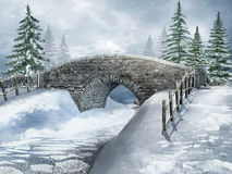 Snowy landscape with a bridge vector illustration