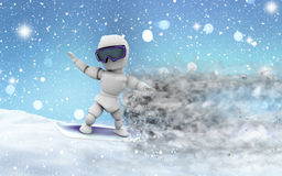 Snowy landscape with 3D snowboarder Stock Photo