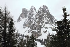 Snowy landscape at Dolomites. Alps, Italy Royalty Free Stock Photo