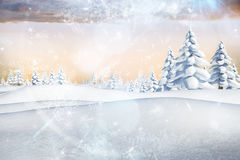 Snowy landscape with fir trees. Digitally generated snowy landscape with fir trees Royalty Free Stock Photo