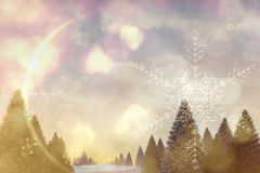 Snowy landscape with fir trees. Digitally generated snowy landscape with fir trees Stock Photo
