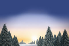 Snowy landscape with fir trees. Digitally generated snowy landscape with fir trees Stock Photography