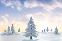 Snowy landscape with fir trees. Digitally generated Snowy landscape with fir trees Royalty Free Stock Images