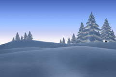 Snowy landscape with fir trees. Digitally generated Snowy landscape with fir trees Royalty Free Stock Photography