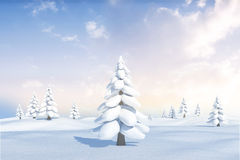 Snowy landscape with fir trees. Digitally generated Snowy landscape with fir trees Stock Images